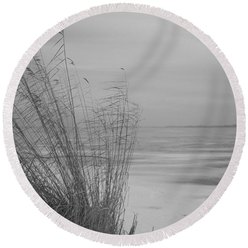Island Of Ruegen Round Beach Towel featuring the photograph Beach Grass In The Snow by Ralf Kaiser
