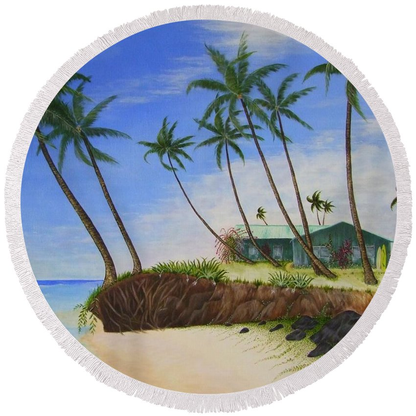 Beach House Round Beach Towel featuring the painting Beach House by Mary Deal