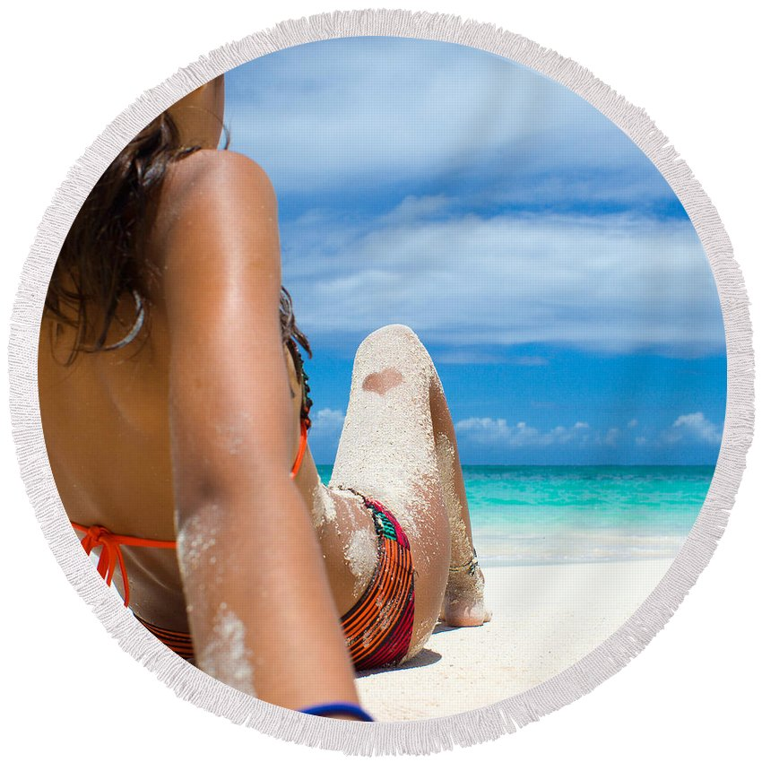 Antigua And Barbuda Round Beach Towel featuring the photograph Beach Love by Ferry Zievinger