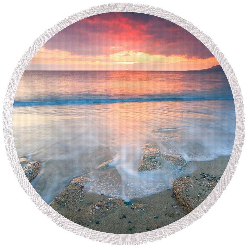 Beach Round Beach Towel featuring the photograph Beach by Milan Gonda
