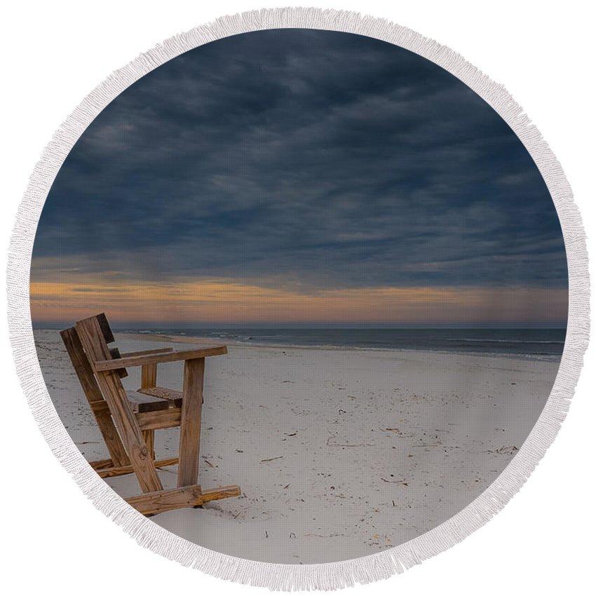 Beach Round Beach Towel featuring the photograph Beach Morning by Charlie Choc