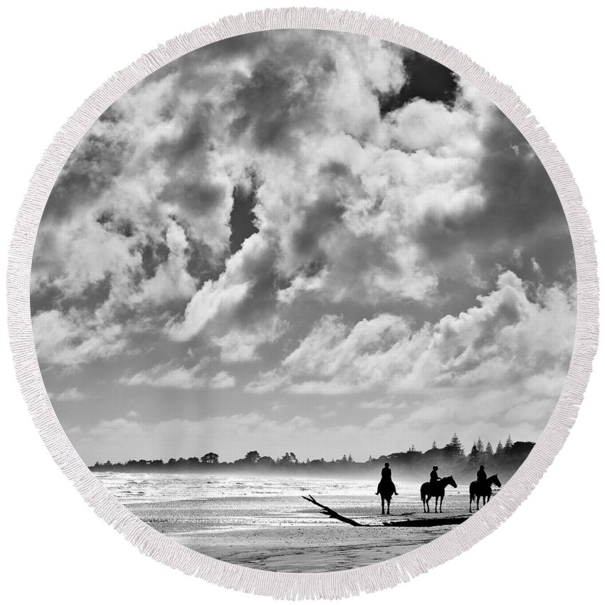 Ride Round Beach Towel featuring the photograph Beach Riders by Dave Bowman
