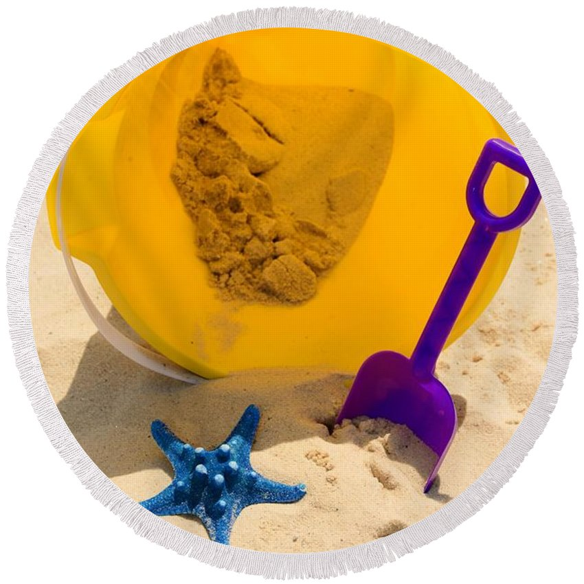 Paul Ward Round Beach Towel featuring the photograph Beach Sand Pail And Shovel by Paul Ward