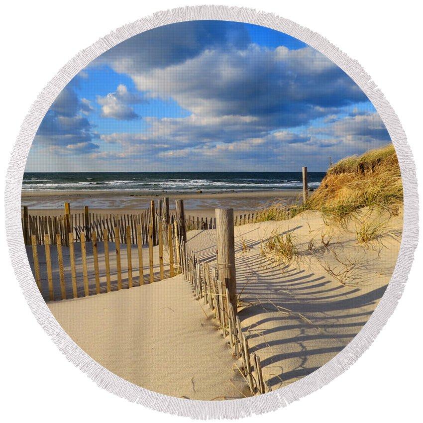 Cape Cod Bay Round Beach Towel featuring the photograph Beach Shadows by Dianne Cowen