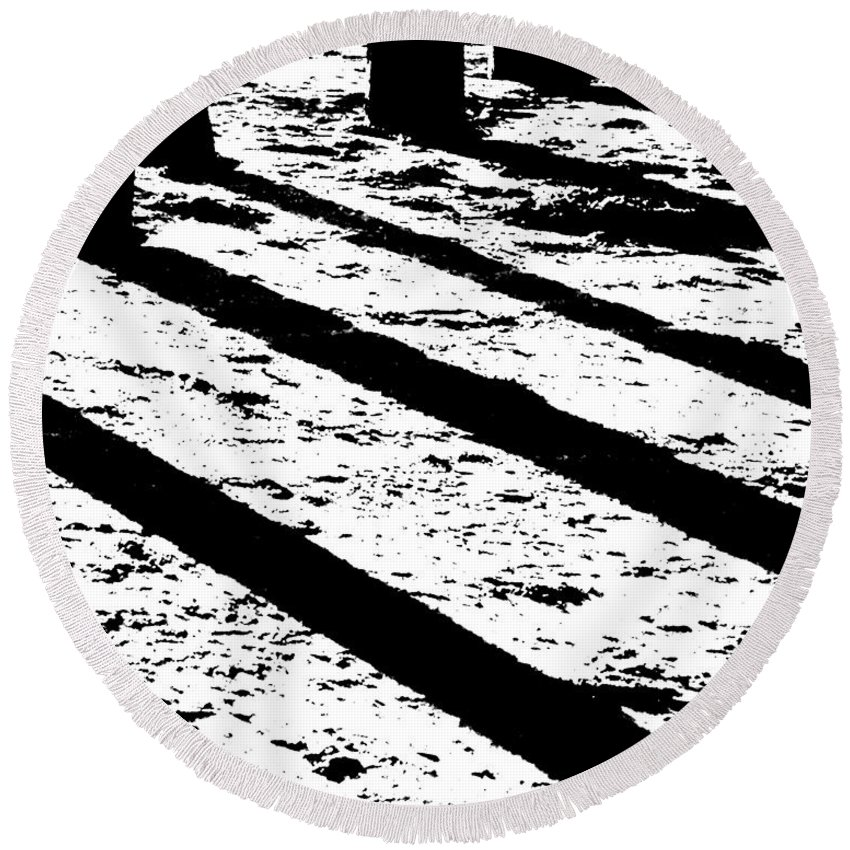 Black White Round Beach Towel featuring the photograph Beach Shadows by Lizi Beard-Ward