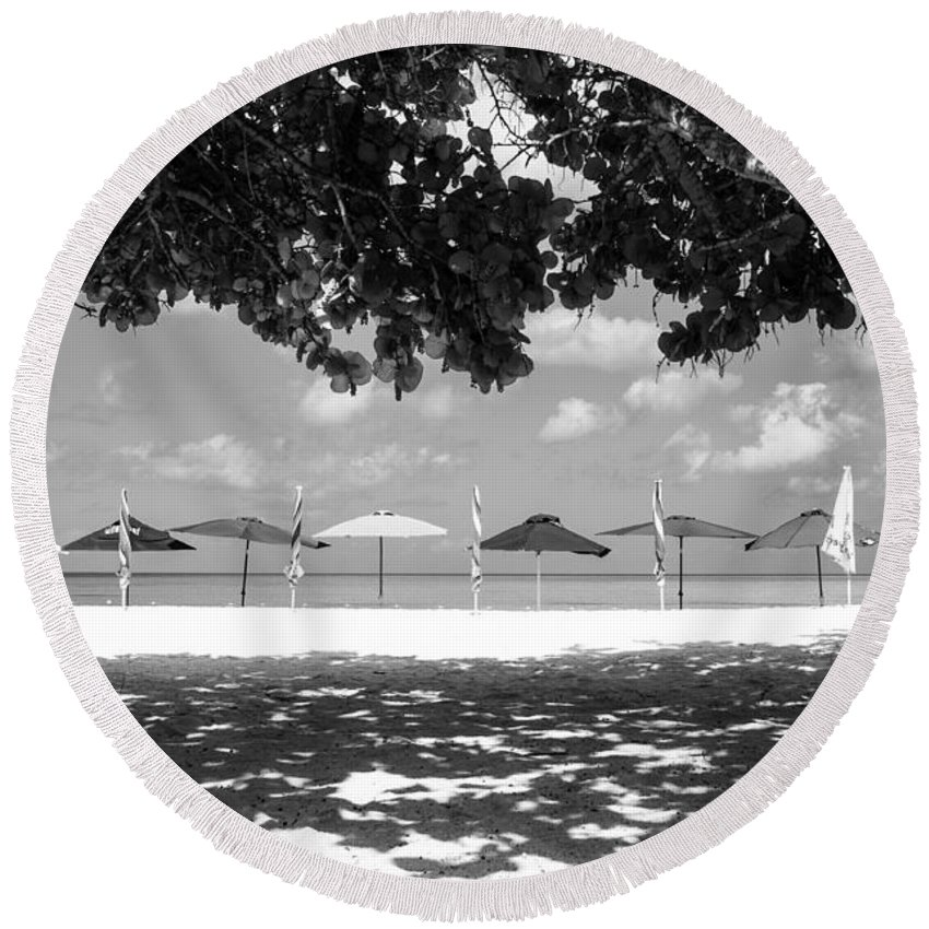 Antigua And Barbuda Round Beach Towel featuring the photograph Beach Umbrellas by Ferry Zievinger