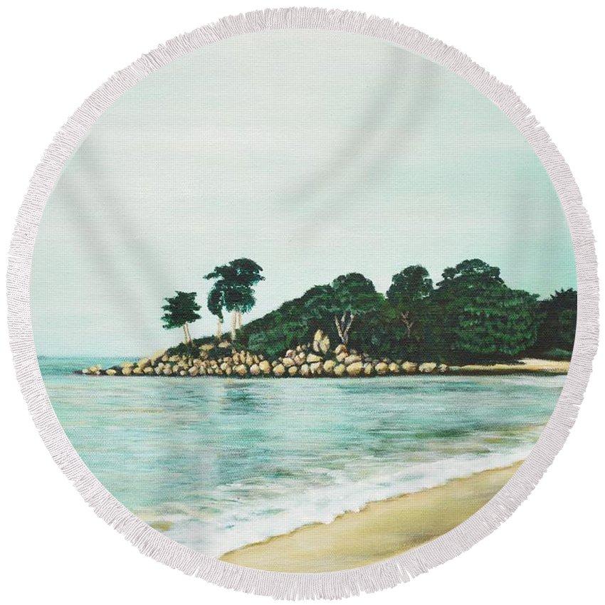 Beach Round Beach Towel featuring the painting Beach by Usha Shantharam
