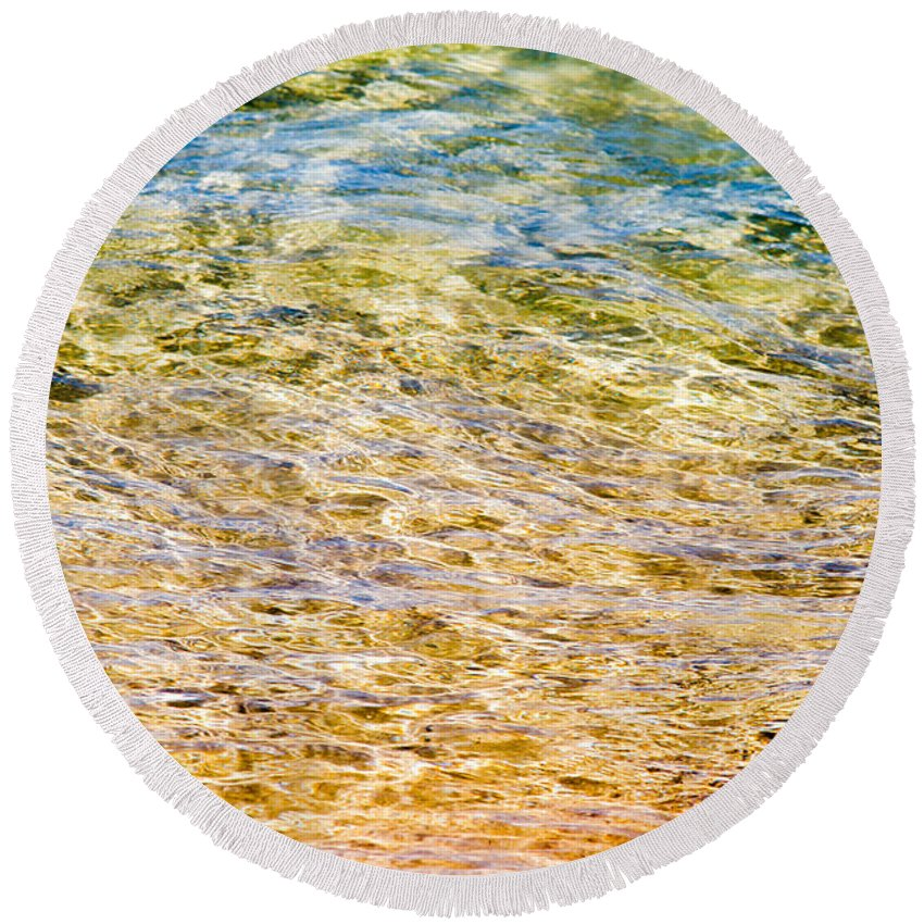 Water Round Beach Towel featuring the photograph Beach Water Abstract by Silken Photography