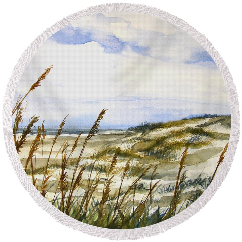 Watercolor Round Beach Towel featuring the painting Beach Watercolor 3-19-12 Julianne Felton by Julianne Felton