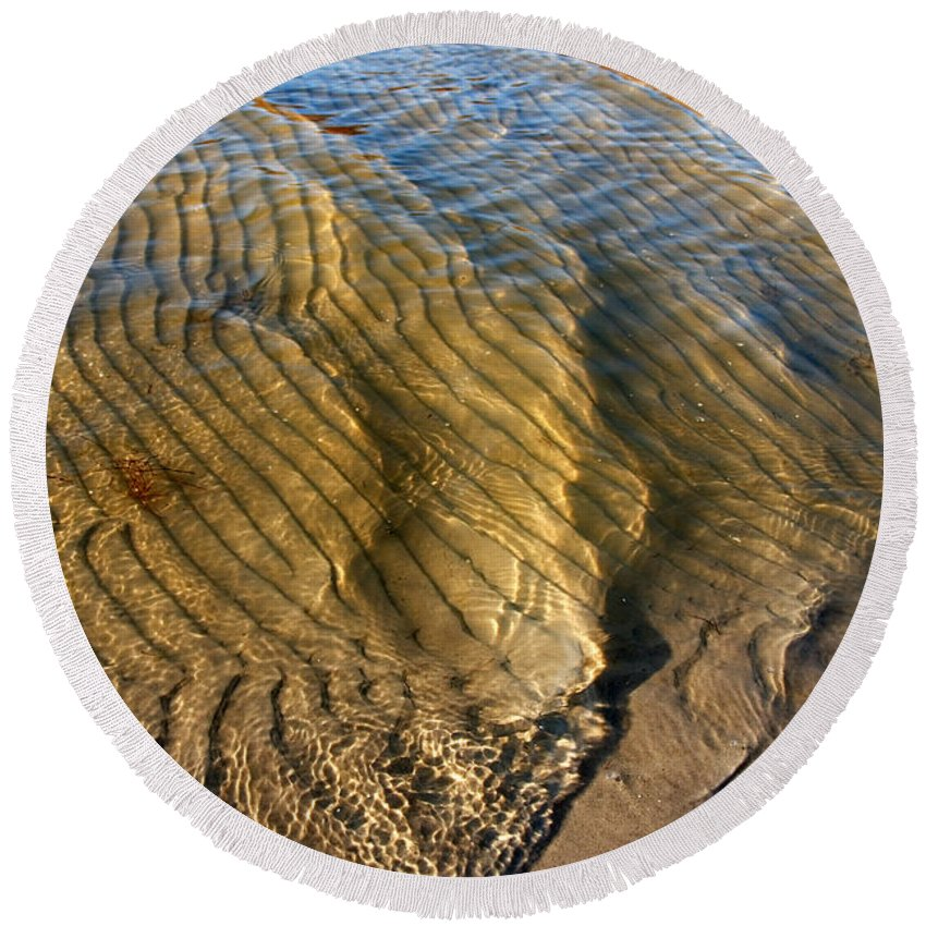 Abstract Round Beach Towel featuring the photograph Beach Wave Pattern. by Jan Brons