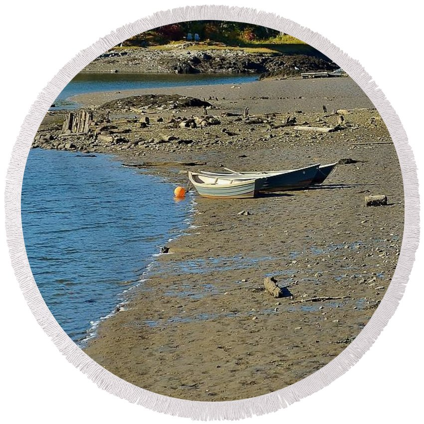 Photograph Round Beach Towel featuring the photograph Beached Dinghy by Anne Clark