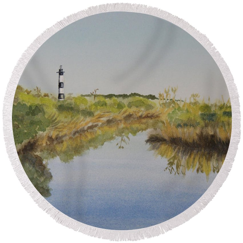 Lighthouse Round Beach Towel featuring the painting Beacon On The Marsh by Jill Ciccone Pike