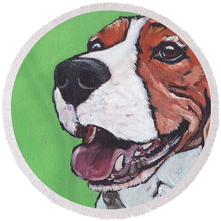 Beagle Round Beach Towel featuring the painting Beagle Timo by Greg and Linda Halom