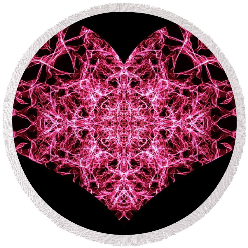 Heart Round Beach Towel featuring the digital art Beaming Heart by April Patterson