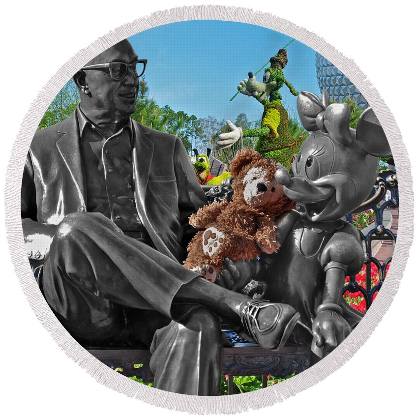 Fantasy Round Beach Towel featuring the photograph Bear And His Mentors Walt Disney World 03 by Thomas Woolworth