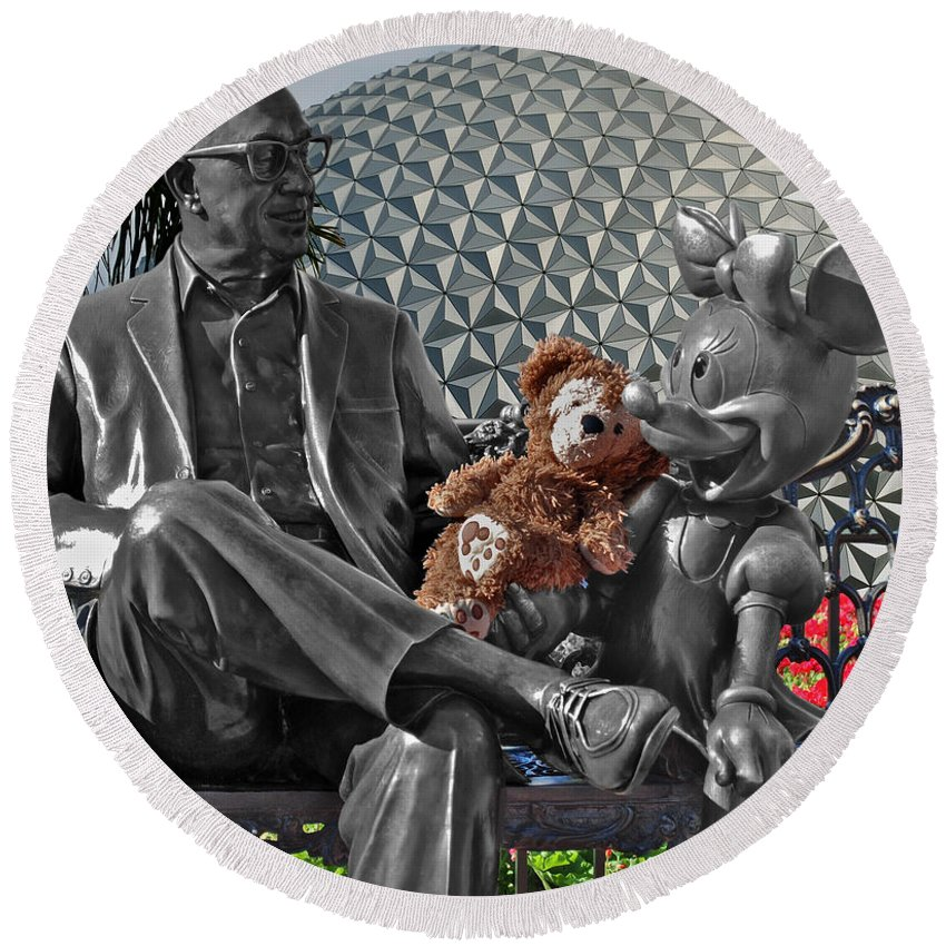 Fantasy Round Beach Towel featuring the photograph Bear And His Mentors Walt Disney World 04 by Thomas Woolworth