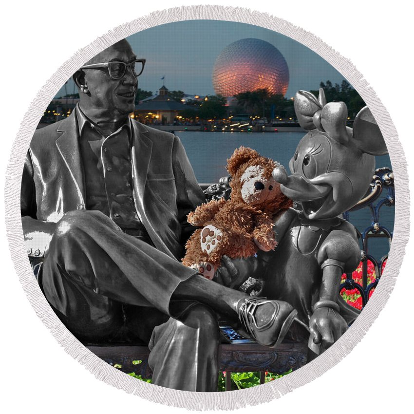 Fantasy Round Beach Towel featuring the photograph Bear And His Mentors Walt Disney World 05 by Thomas Woolworth