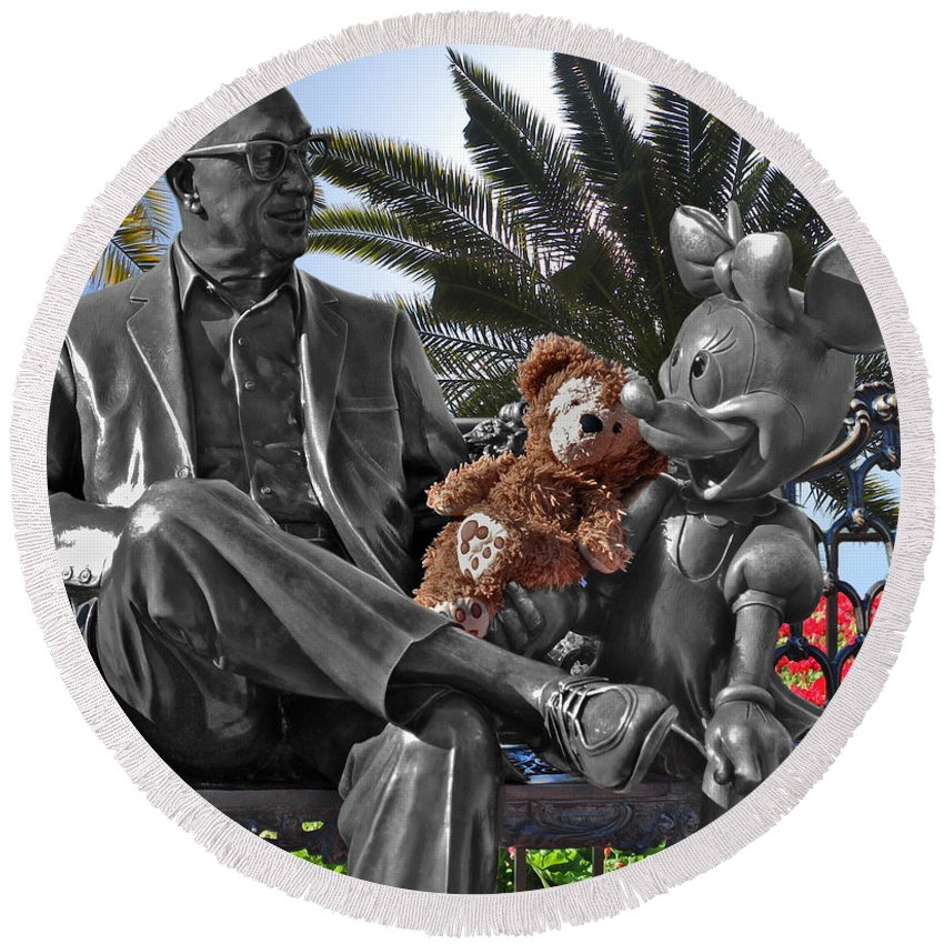Fantasy Round Beach Towel featuring the photograph Bear And His Mentors Walt Disney World 06 by Thomas Woolworth