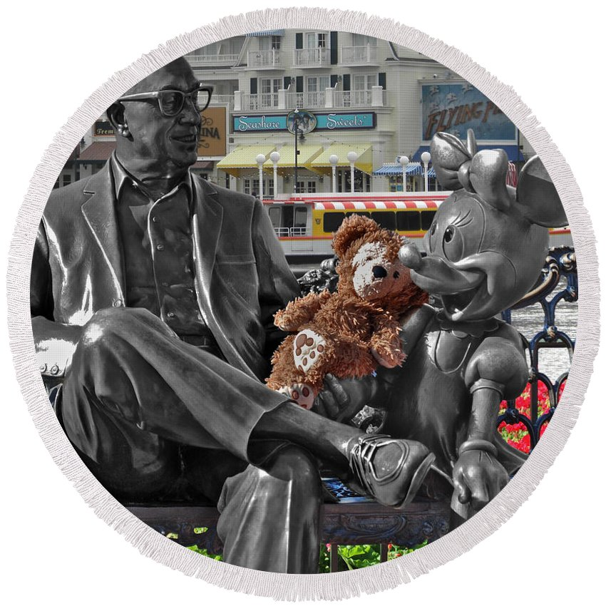 Fantasy Round Beach Towel featuring the photograph Bear And His Mentors Walt Disney World 07 by Thomas Woolworth