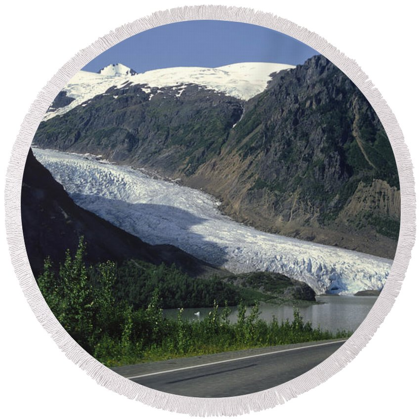 Americas Round Beach Towel featuring the photograph Bear Glacier by Roderick Bley