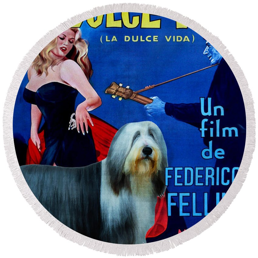 Bearded Collie Round Beach Towel featuring the painting Bearded Collie Art Canvas Print - La Dolce Vita Movie Poster by Sandra Sij