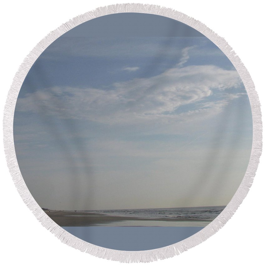 Cloud Round Beach Towel featuring the photograph Bearded Man Flying Cloud by Ellen Meakin