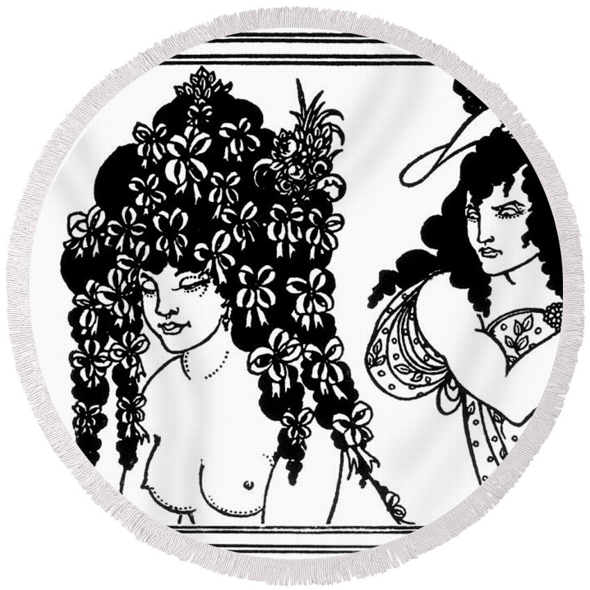 1896 Round Beach Towel featuring the drawing Beardsley Lysistrata, 1896 by Granger
