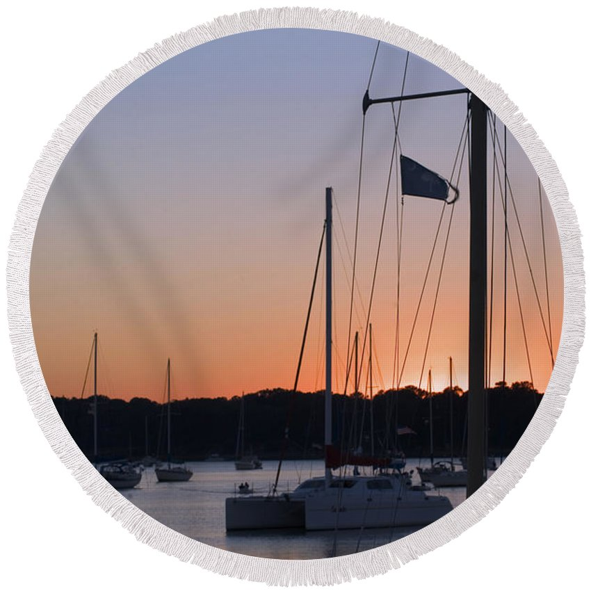 Ships At Harbor Round Beach Towel featuring the photograph Beaufort Sc Sunset by Bob Pardue