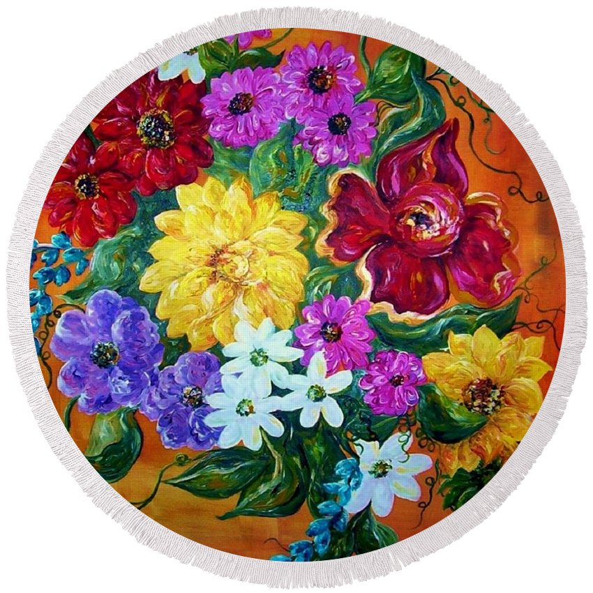 Flower Round Beach Towel featuring the painting Beauties In Bloom by Eloise Schneider