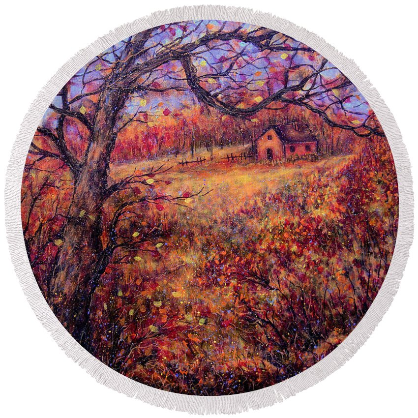 Autumn Round Beach Towel featuring the painting Beautiful Autumn by Natalie Holland