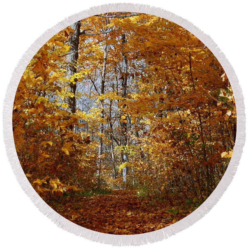 Autumn Round Beach Towel featuring the photograph Beautiful Autumn Sanctuary by Kay Novy
