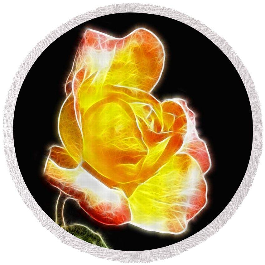 Beautiful Blooming Yellow Rose Round Beach Towel featuring the digital art Beautiful Blooming Yellow Rose by Mariola Bitner