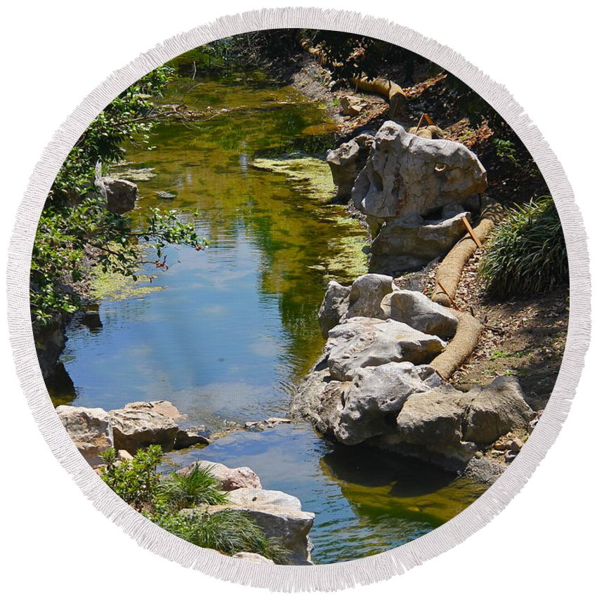 Rock Round Beach Towel featuring the photograph Beautiful Brook by Denise Mazzocco