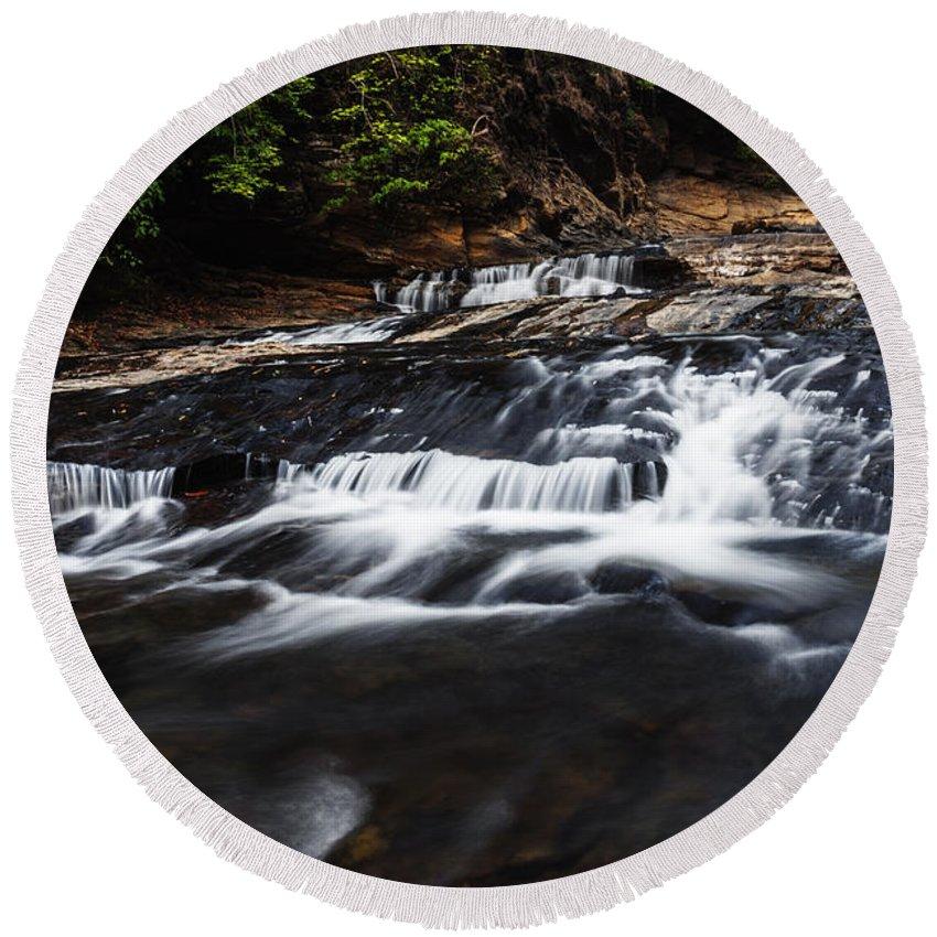 Waterfall Round Beach Towel featuring the photograph Beautiful Cascade In Western Ghats In Karnataka India by Vishwanath Bhat