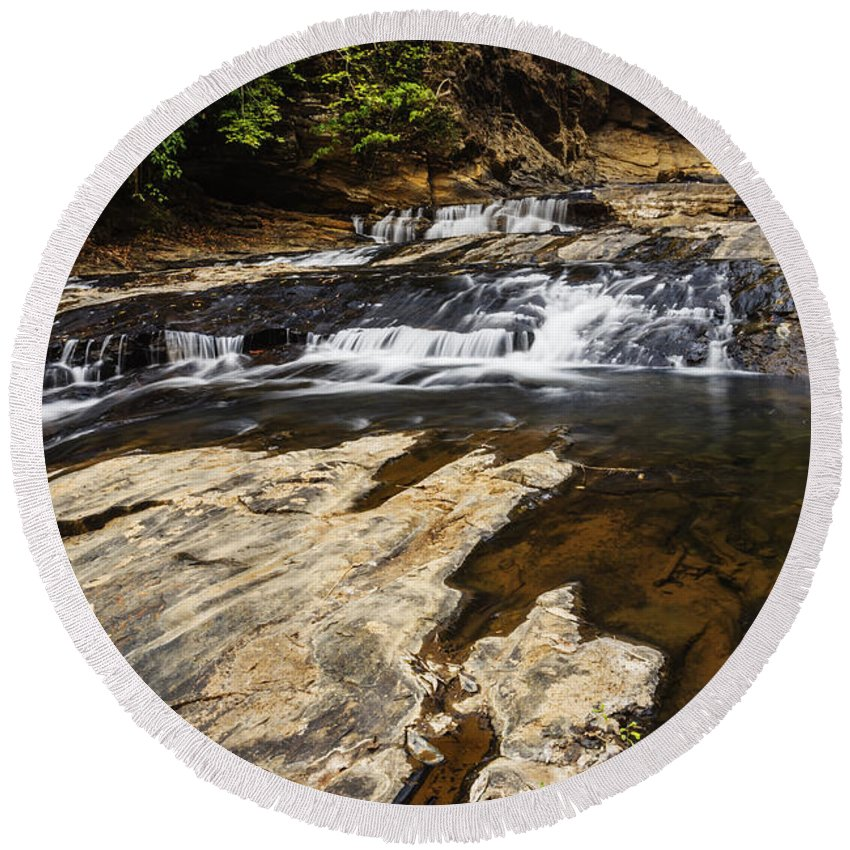 Waterfall Round Beach Towel featuring the photograph Beautiful Cascade In Western Ghats Karnataka India by Vishwanath Bhat