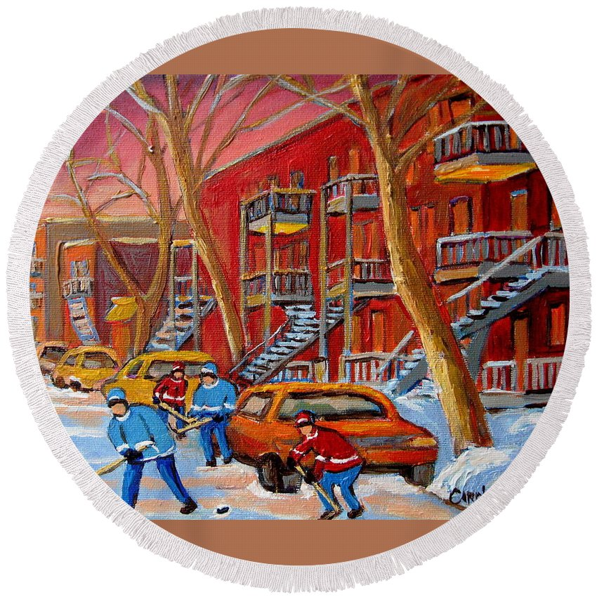 Round Beach Towel featuring the painting Beautiful Day For Hockey by Carole Spandau