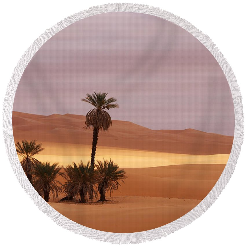 Desert Round Beach Towel featuring the photograph Beautiful Desert by Ivan Slosar