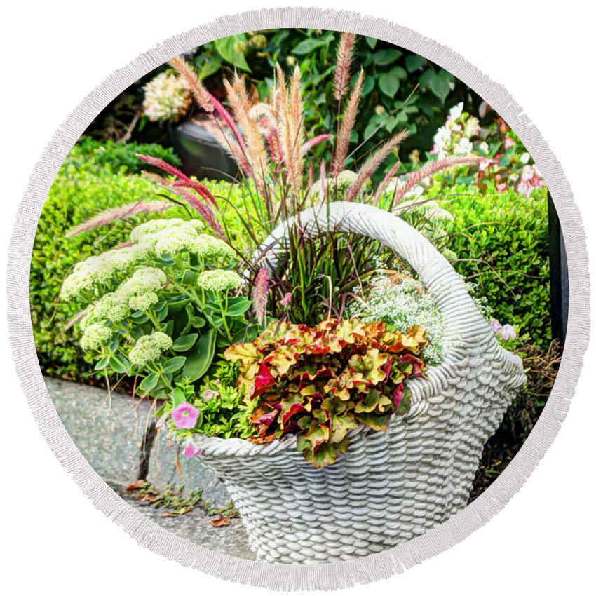 Laura Duhaime Photography Round Beach Towel featuring the photograph Beautiful Flowers In Basket by Laura Duhaime