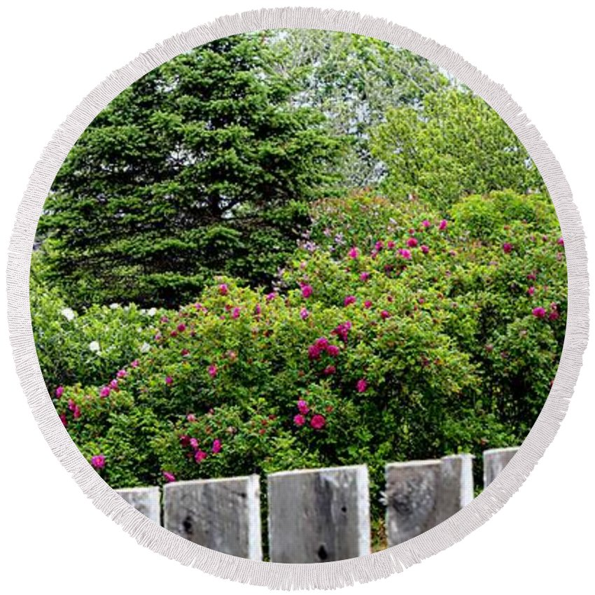 Beautiful Front Yard Round Beach Towel featuring the photograph Beautiful Front Yard - Roses - Trees by Barbara Griffin