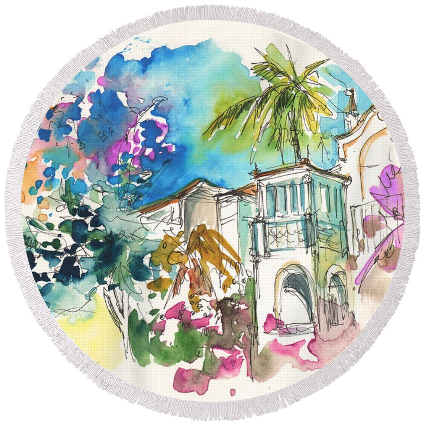 Travel Round Beach Towel featuring the painting Beautiful House In Sintra by Miki De Goodaboom