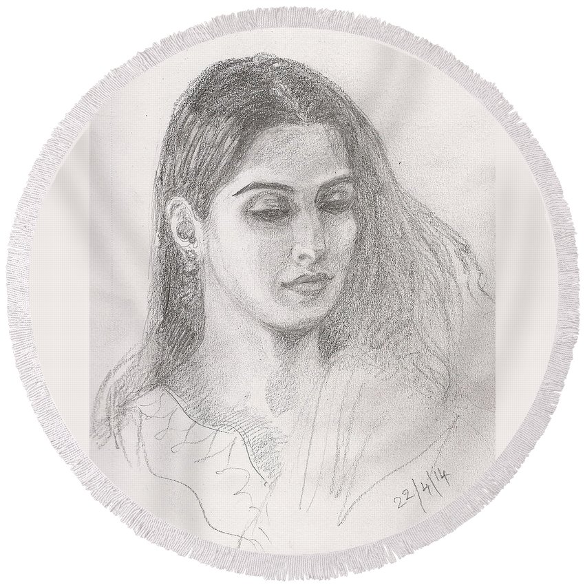 Indian Woman Sketch Round Beach Towel featuring the drawing Beautiful Indian Woman by Asha Sudhaker Shenoy