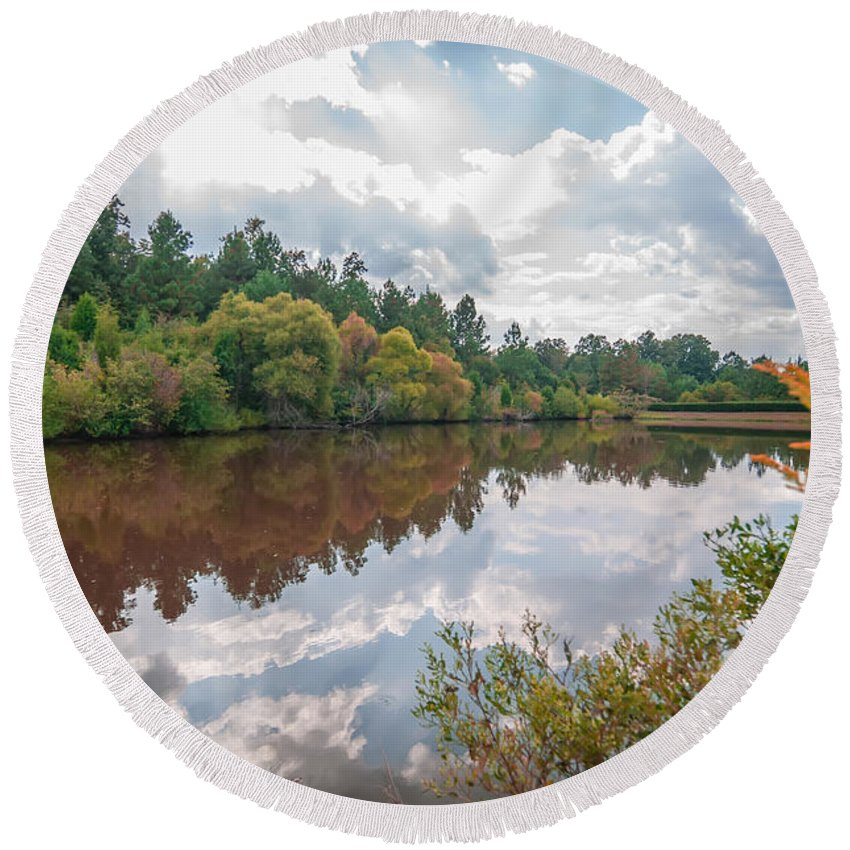 Autumn Round Beach Towel featuring the photograph Beautiful Lake Reflections by Alex Grichenko