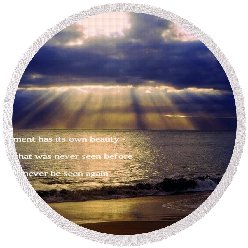 Sunbeams Radiating Through Clouds Before Sunset Round Beach Towel featuring the photograph Beautiful Moment by Sally Weigand