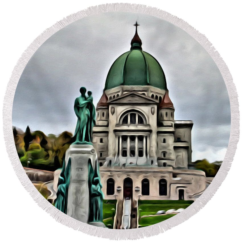 Montreal Church Round Beach Towel featuring the photograph Beautiful Montreal Church by Alice Gipson