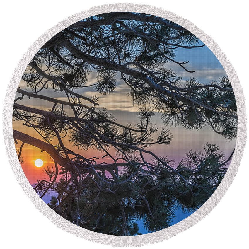 Landscape Round Beach Towel featuring the photograph Pastel Morning by Maria Coulson
