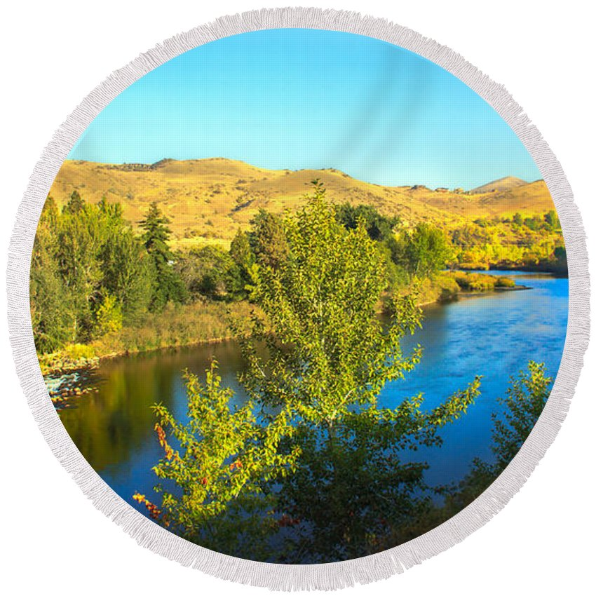 Idaho Round Beach Towel featuring the photograph Beautiful Payette by Robert Bales