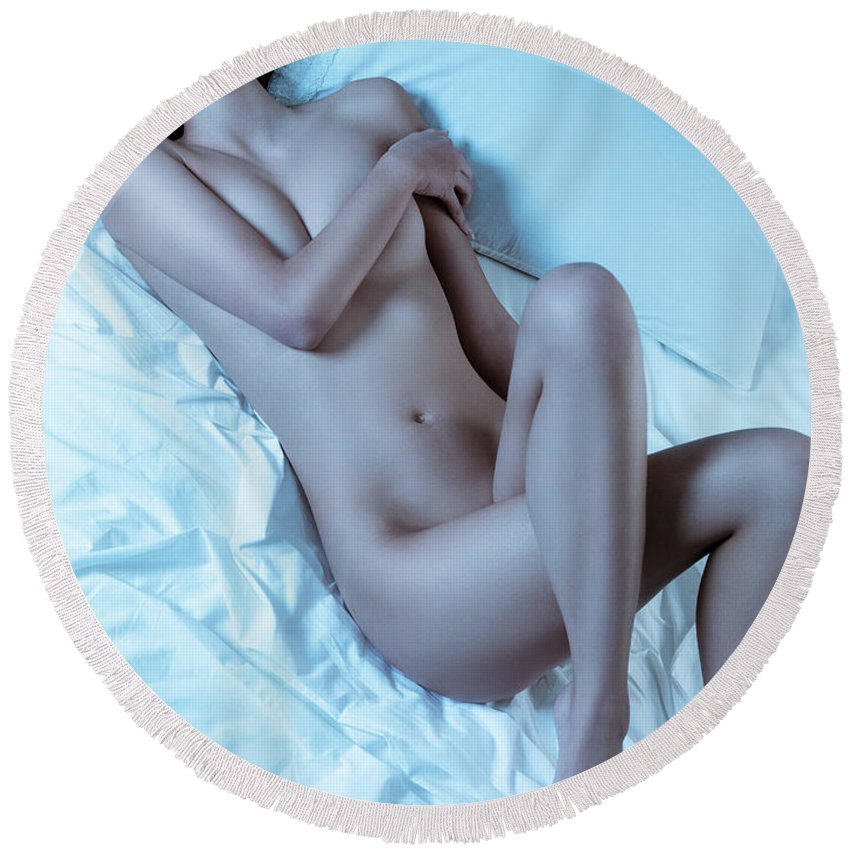 Sexy Round Beach Towel featuring the photograph Beautiful Sexy Nude Woman Lying On White Sheets by Oleksiy Maksymenko
