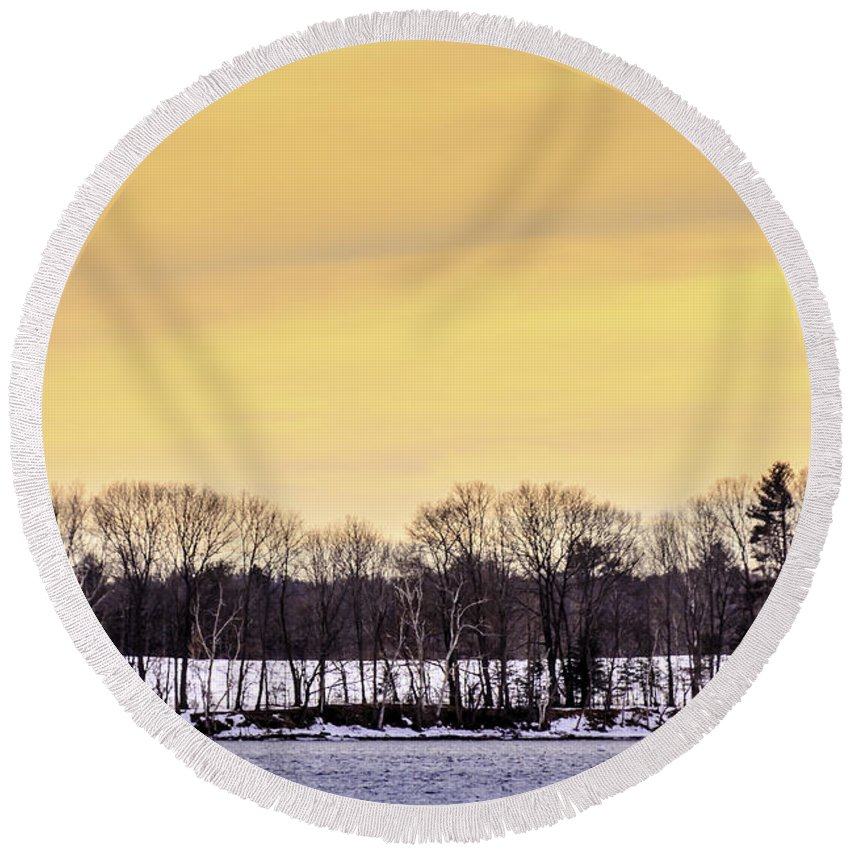 Laura Duhaime Photography Round Beach Towel featuring the photograph Beautiful Sky Just Before Sunset by Laura Duhaime