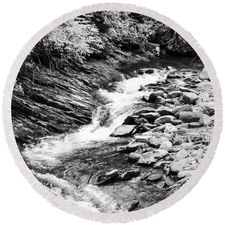 Cascade Round Beach Towel featuring the photograph Beautiful Stream Smoky Mountains Bw by Cynthia Woods