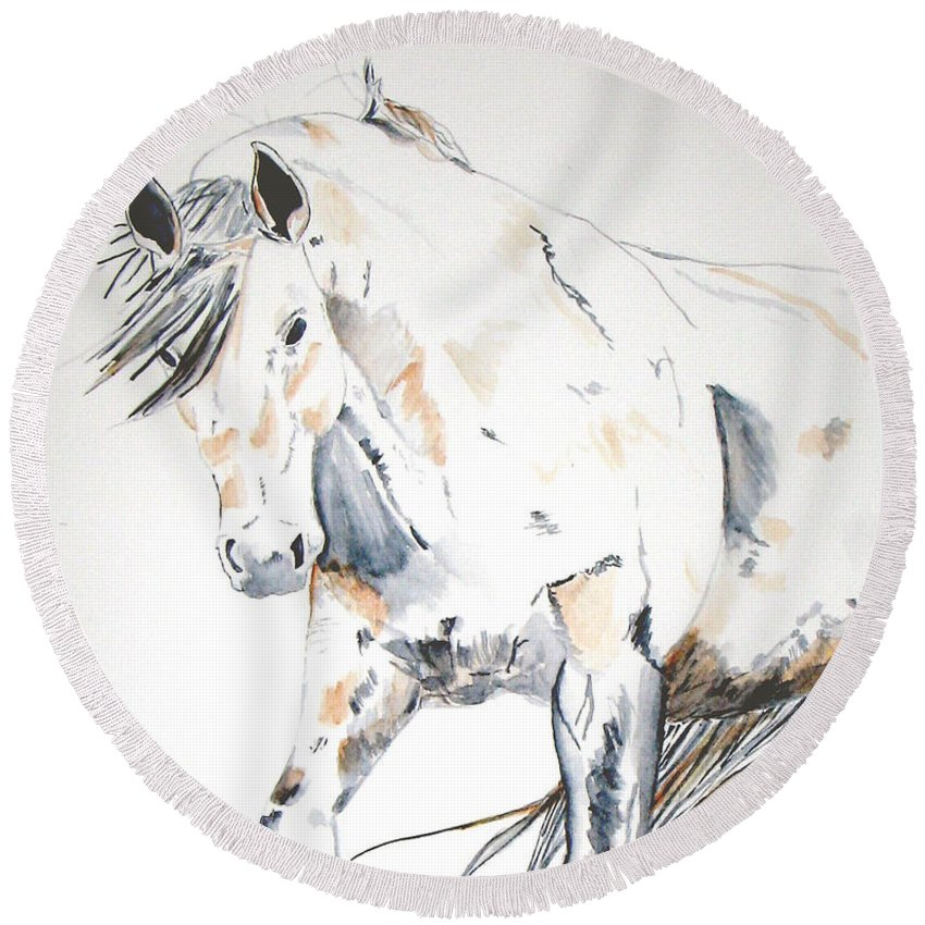 Horse Round Beach Towel featuring the painting Beauty by Crystal Hubbard